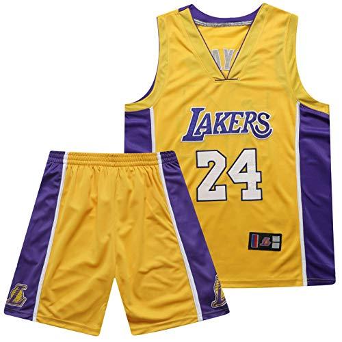 PGODYQ James 23 Kobe 24 Bryant 8 Für Lakers-Fans Trikot, gestickte Ballnummer und Logo-24 Yellow-M