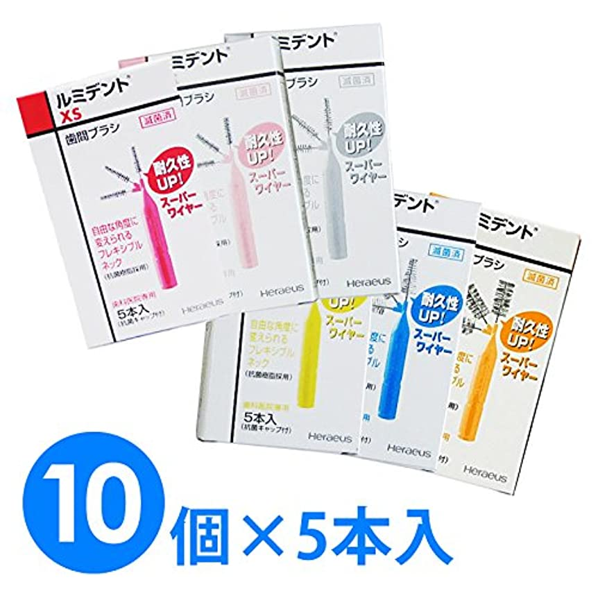 冷える司書退却【10個1箱】ヘレウス ルミデント 歯間ブラシ 5本入り×10個 (M ブルー)