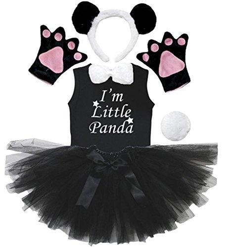 Petitebelle Stirnband Bowtie Schwanz Handschuhe Hemd Rock 6pc Mädchen-Kostüm 6-8 Yr Panda
