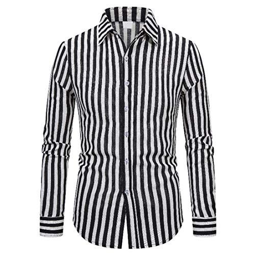 NLZQ Herren Streifen Hemd Revers Slim Fit Gemütlich Langarm Regular Fit Button Hemd Arbeit Hochzeit Party Freizeit top Frühling und Herbst Chic top XL