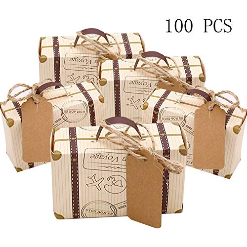 CNNIK 100 Pcs Mini Suitcase Favor Box Party Favor Candy Box Vintage Kraft Paper with Tags and Burlap Twine for Wedding/Travel Themed Party Guest Wedding Favor Bridal Shower