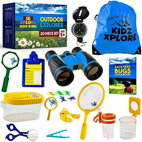 Kidz Xplore-Outdoor Explorer Set, Bug Catching Kit, Nature Exploration Children Outdoor Games Mini Binoculars Kids Compass Whistle Magnifying Glass, Adventure Educational Toy