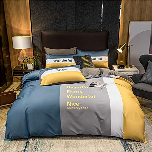 BRAWCKY Duvet Cover Super Soft And Durable Yellow, White And Blue Quilt Cover Pillowcase Pure Cotton Bedroom Bedding-135X200Cm