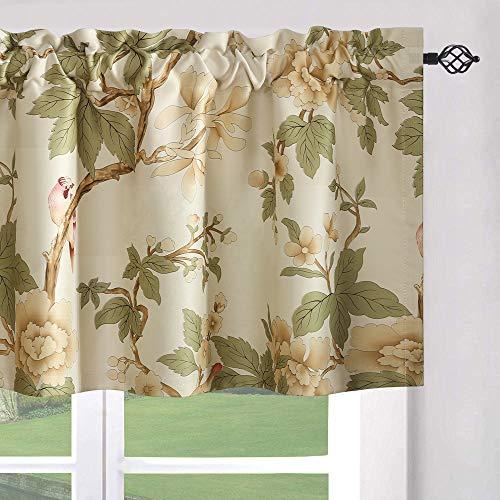 Leeva Beige Window Valance for Bedroom, Room Darkening Birds Print Pattern Linen Shade Curtain Valances for Living Room, One Panel, 52x18