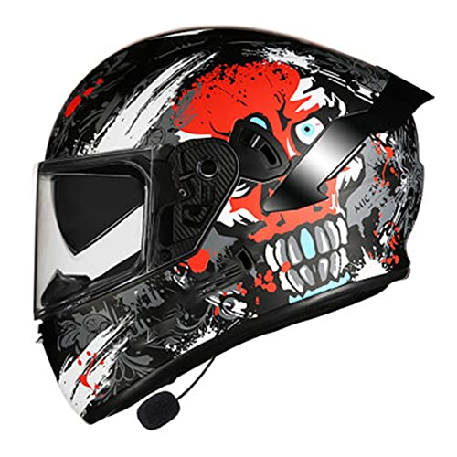 Bluetooth Integrado Casco de Moto Modular con Doble Visera Anti Niebla Cascos de Motocicleta para Adultos Hombres Mujeres Certificacion DOT/ECE C,M=55~57CM