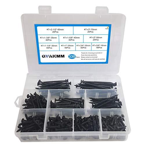GVAKMM 330-Pcs,#7 Coarse Thread Drywall Screw Assortment,9 Sizes Wood Screws Assortment Set,Quality Black Screw Set,Self Tapping Screws,for Drywall,Sheetrock,Machine,Furniture,Wood