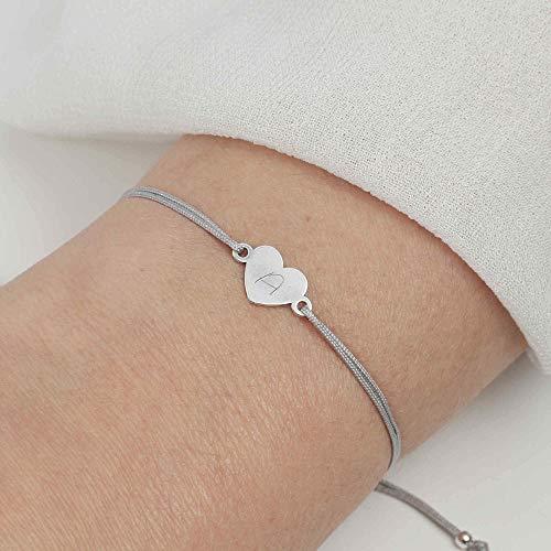 SCHOSCHON Damen Armband Herz 925 Silber Hellgrau mit individueller Gravur // personalisierbar 20 Farben Gravurarmband Schmuck Geschenk