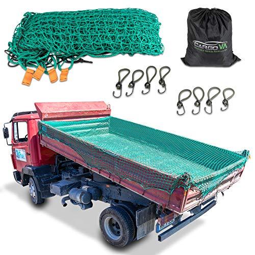 CargoVA® Intelligentes Anhängernetz 3x4M - Hängernetz mit Gummiseil, Eckenmarkierung, Beutel und Haken - zur perfekten Ladungssicherung