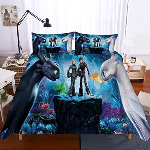 DCWE Dragons 3D Digital Printed Microfibre Duvet Cover Set 'How to Train Your Dragon' with Duvet Cover and Pillowcases, 11, 135x200cm