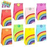 LovesTown 36 Pcs Rainbow Paper Gift Bags, 8 colour Rainbow Party Bag Rainbow...
