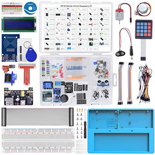 RFID Starter Kit für Raspberry Pi RAB Holder, Servo, Breadboard, Schrittmotor, 215 Stück, 21 Projekte für Raspberry Pi 4 B 3 B + A + 2 1 Zero W mit Lernelektronik für Einsteiger LK86