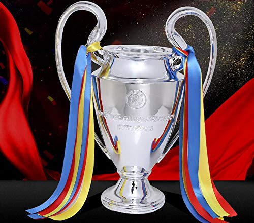 WESEAZON Champions League Replica Trophy Copa del Mundo de fútbol de la Liga Europea 2018 Recuerdos de los Fans Multi-tamaño Plata Plateada Superficie,44cm