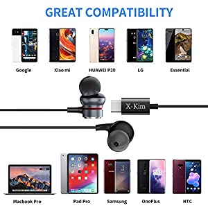 USB C Earphones HiFi Stereo in Ear Earbuds Type C Headphones with Microphone Bass Earbud with Mic and Volume Control Compatible with Google Pixel 3/2/XL,iPad Pro 2018,Sony XZ2 Pro