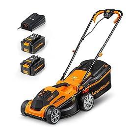 LawnMaster CLMF2434G Tondeuse à Gazon à Batterie 24 V, 4,0 Ah, 2 Batteries,1 Chargeur Rapide, 300 m² Largeur de Coupe 34…