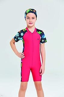 Islamic Burkini Swimwear Modest Burqini Swimsuit HIjab Muslim Kids Covered One Piece Swimsuit for Children with Bonnet, Gi...