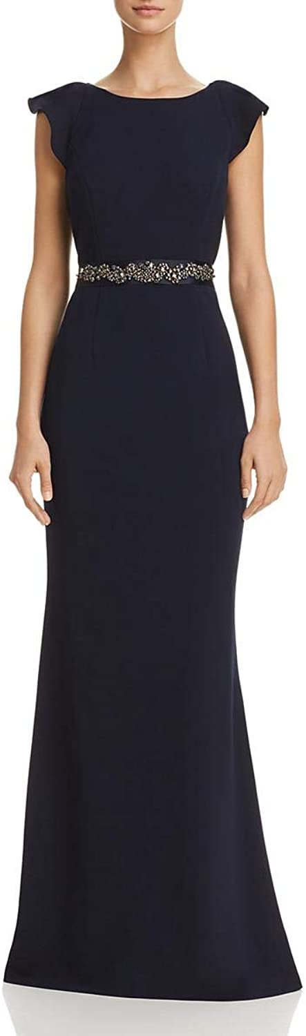 Adrianna Papell Womens Crepe Embellished Evening Dress