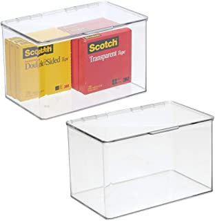 mDesign Plastic Stackable Home, Office Supplies Storage Organizer Bin Box with Attached Lid - Holder Container Bin for Note Pads, Gel Pens, Staples, Dry Erase Markers, Tape, 2 Pack - Clear