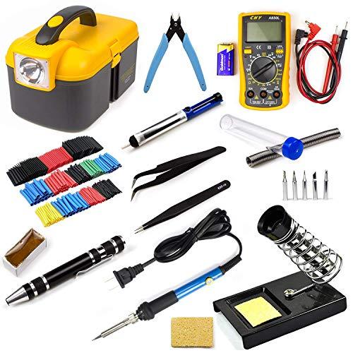 Ziss Kit de herramientas de soldadura electrónica, herramienta de soldadura de temperatura ajustable con multímetro digital, 5 puntas de soldadura y 328 tubos termorretráctiles