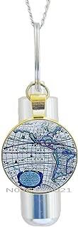 maoqunza World Map Cremation Urn Necklace, Earth Cremation Urn Necklace, Travel Jewelry, Globe Cremation Urn Necklace,World Map Glass Dome URN Cremation Urn Necklace Map Jewelry -RG232