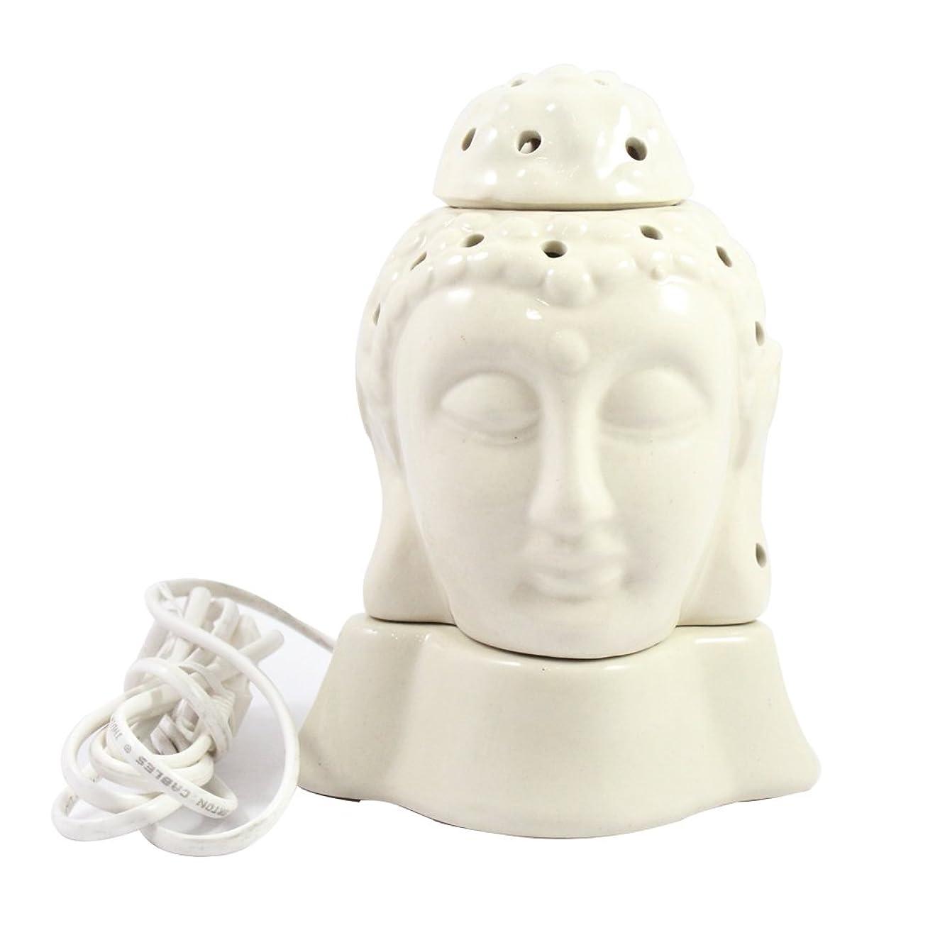 傷つきやすいリベラル賭けGautama Buddha電気アロマオイルバーナー&ティーライトランプ/良質ホワイトカラー数量1 /汚染無料手作りセラミック主仏電気T - ライトランプ&香油ディフューザー