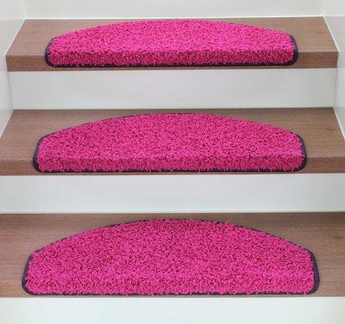 Kettelservice-Metzker Stufenmatten Treppenmatten Shaggy - Halbrund 10 Aktuelle Farben im SparSet 15 Stck. incl. Fleckentferner (Creme)