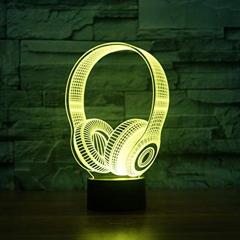 Wuqingren Kinder Geburtstagsgeschenke 3D DJ Kopfhrer Form Nachtlicht LED Tischlampe Schlafzimmer Dekor Musik Bunte Kopfhrer Schlaf Beleuchtung,Remote und berühren