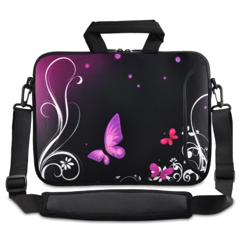 Violett Schmetterling 24,6 cm 25,4 cm 25,9 cm Zoll Laptop Netbook Tablet Fall mit Sleeve Tasche Schultertasche für Apple iPad/Asus EeePC/Acer Aspire One/Dell Inspiron Mini/Samsung N145/Lenovo S205 S10/HP Touchpad Mini 210