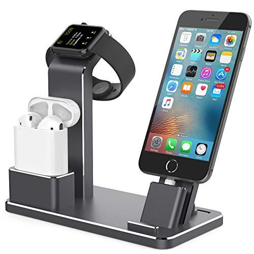 Stazione di ricarica per più dispositivi, Apple Watch e stazione di ricarica del telefono, 2 in 1, supporto universale da scrivania per caricatore di orologio privato
