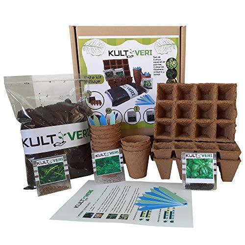 KULTIVERI - Set di piante da coltivazione da 35 pezzi, composto da vasi e semi di germinazione biodegradabili, per creare l'orto in cucina.