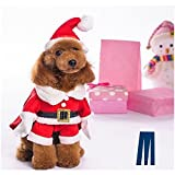 Mikayoo Christmas Costumes for Small Dog Medium Dog Or Cat, Santa Suit with Hat,Santa Dress with Hat, Santa Claus Costumes Christmas Holiday, Xmas Coat with Santa Hat, Xmas Dress with Santa Hat(M)