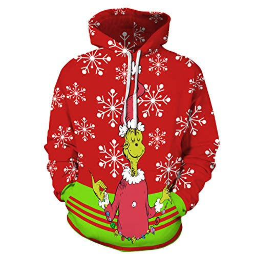 SEWORLD Weihnachten Kapuzenpullover Herren Damen Weihnachtspullover Lustige 3D Print Unisex Sweatshirt Langarm Christmas Hoodie Kapuzen Paar Weihnachtspulli Weihnachtsdruck Pullover