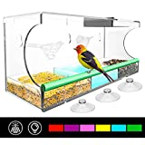 Ottsuls Solar Window-Bird-Feeder for Outdoor with Super Strong Suction Cups, Large Outside Birdhouse for Wild Birds-Waterer as Gift-Ideas for Bird Lover