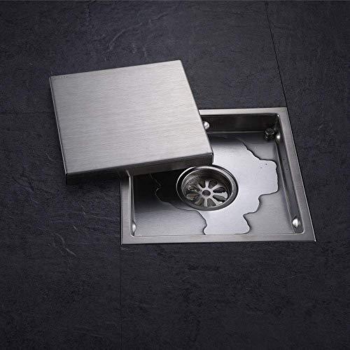 DYR Quadratischer Edelstahl-Bodenablauf, Flieseneinsatz Abfallgitter Badezimmer Unsichtbarer Duschablauf, 150x150mm