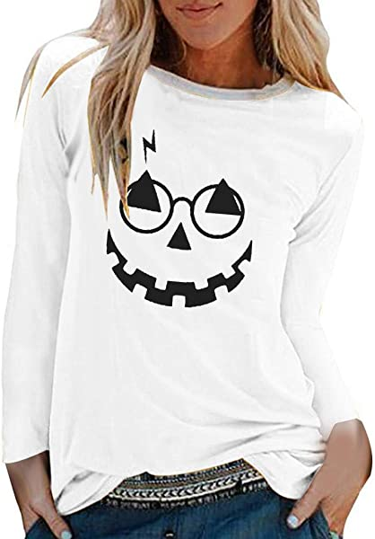 Ros1ock Womens Long Sleeve Casual Halloween T Shirts Tops O Neck Loose Blouse Sweatshirts