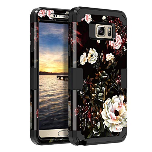LONTECT for Galaxy Note 5 Case Hybrid Heavy Duty Shockproof Full-Body Protective Case with Dual Layer [Hard PC+ Soft Silicone] Impact Protection for Samsung Galaxy Note 5, Black/White Flower