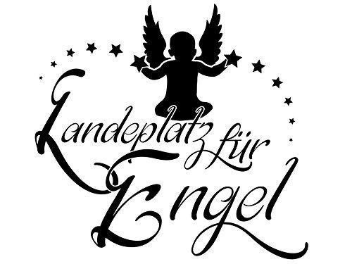 Wandtattoo-bilder® Wandtattoo Sprüche Landeplatz für Engel Nr 2 Schlafzimmer Wandsticker Wandaufkleber Sterne Farbe Schwarz, Größe 100x93