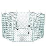 Iris Ohyama, Parc à chiot / enclos chien, 1,7 m², porte avec crochet de fermeture, tiges pour un assemblage & démontage facile, modulable, résistant aux intempéries, pour chien-Pet Circle H-908-Blanc
