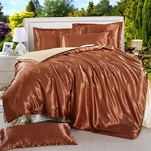 geek cook Bed Sheet Set,Four-piece satin ice silk silk silk quilt cover sheet single double bed-Coffee camel_2.2 Bed quilt cover 220 * 240