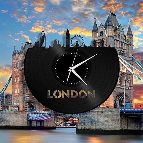 London Reloj de Pared de Vinilo Paisaje Urbano únicos Decoración para el hogar Arte (Tamaño: 12 Pulgadas Color: Negro) Reloj de Pared con Disco de Vinilo Diseño Moderno Negro
