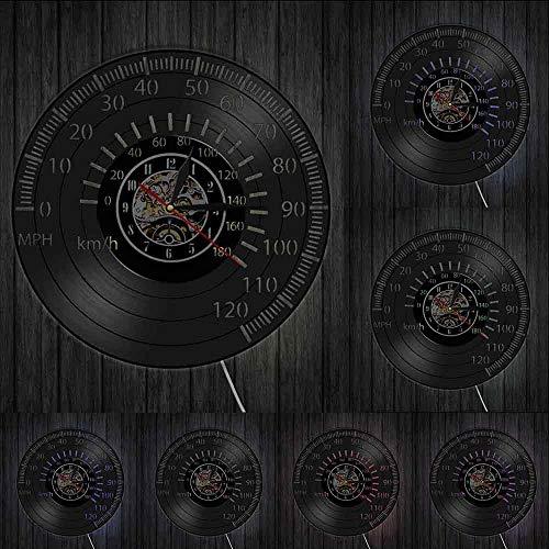 Reloj de pared vintage Cafe Racer tacómetro arte de la pared del velocímetro del reloj de pared de la motocicleta Racing Bike Speedo Tacómetro vinilo Record luces LED