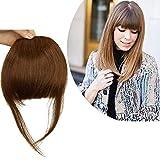 Frange a Clip Cheveux Naturel Plus Epaisse avec Tempes - 100% Vrai Cheveux Humain Postiche Extension Lisse - #06 Châtain Clair