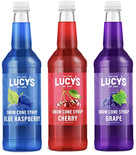 Lucy's Family Owned Shaved Ice Snow Cone Syrups - Cherry, Blue Raspberry, Grape - 32oz Syrup Bottles (Pack of 3) (Classic Pack)