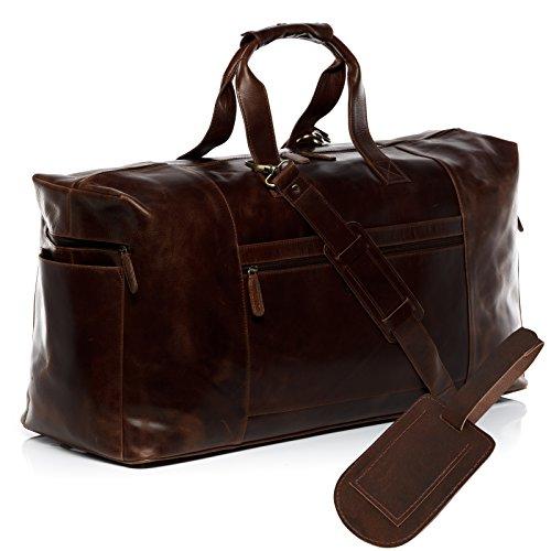 SID & VAIN reistas met adreslabel echt leer Bristol XXL grote sporttas weekender lederen tas heren bruin