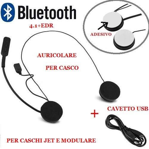 Compatible con Casco Modular AGV Jet Auriculares Bluetooth 4.1 + EDR, CSR BATERÍA DE Iones DE Litio: TELÉFONO DE Respuesta MÓVIL DE 3.7 V con 2 Auriculares + Cable USB Universal
