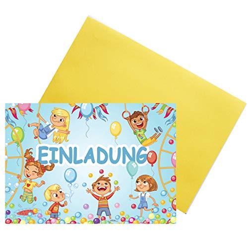 Kreatives Herz Indoor Spielplatz TOBEWELT HÜPFBURG Einladungskarten zum Kindergeburtstag (10er Set) Einladungen A6 Kinder Party