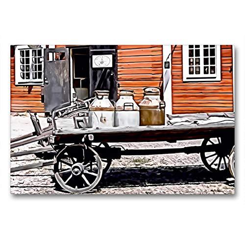 CALVENDO Premium Textil-Leinwand 90 x 60 cm Quer-Format Alter Milchkarren, Leinwanddruck von Sonja Teßen