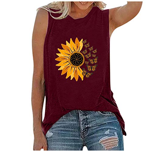 Camiseta sin Mangas con Estampado de Girasol para Mujer Chaleco de Camiseta Casual de Verano