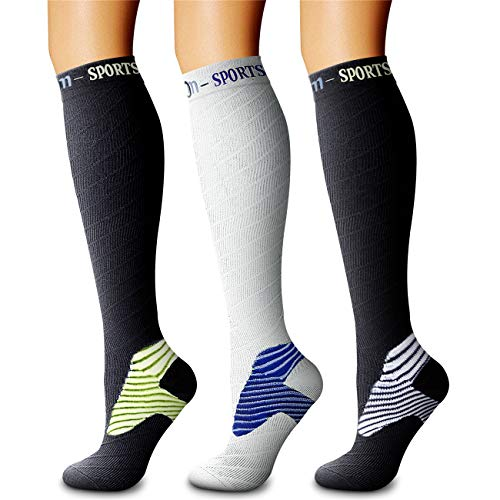 CHARMKING Compression Socks (3 Pairs) 15-20 mmHg is Best Athletic & Medical for Men & Women, Running, Flight, Travel, Nurses, Edema - Boost Performance, Blood Circulation & Recovery (S/M, Assorted 19)