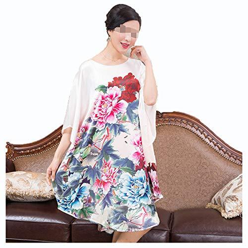 Damen Seiden Pyjama, 100% Damen Crepe Satin Seide Damen Alltag Tunika Negligee - Chinesische Malerei Landscha,3#-OneSize
