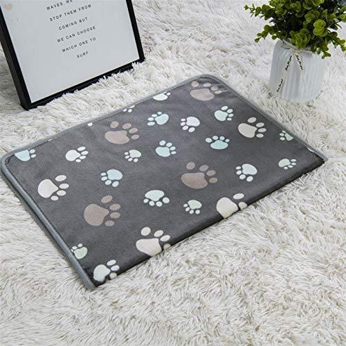 ASDFGT-778 1 STÜCKE Coral Samt Paw Print Decke Katze und Hund Matratze Winterdecke Warme und weiche Matratze Haushaltshaustierbedarf (Color : Gray Footprint, Size : 60X40cm)